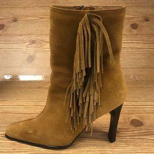 Predictions Suede Fringe Boots, Size 9